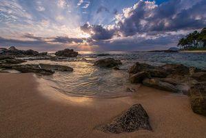 Заставки Оаху, Гавайи, закат, море, остров, пляж, берег
