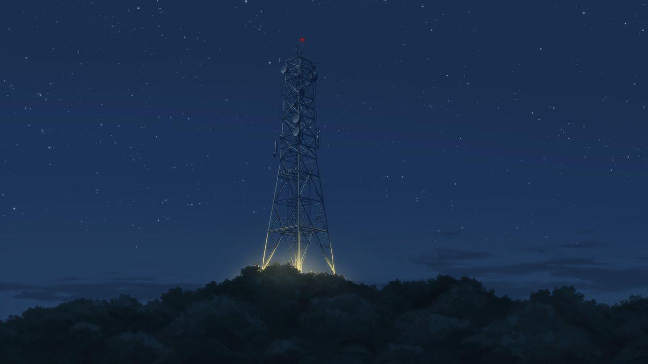 Фото бесплатно аниме пейзаж, ночь, деревья - на рабочий стол
