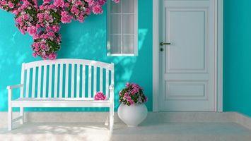 Бесплатные фото interer,cvety,rozy,lavochka