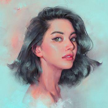 Портрет девушки с голубыми глаза