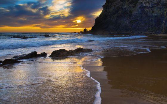 Фото бесплатно вечер, ветровая волна, пляж