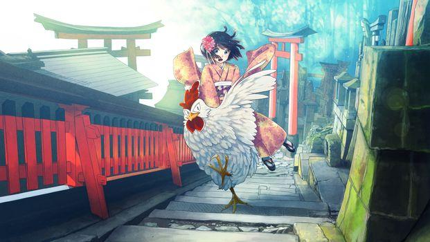 Photo free anime girl, rooster, kimono