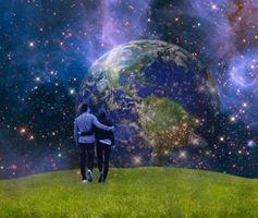 Бесплатные фото поле,планета,свечение,звёзды,парень,девушка,art