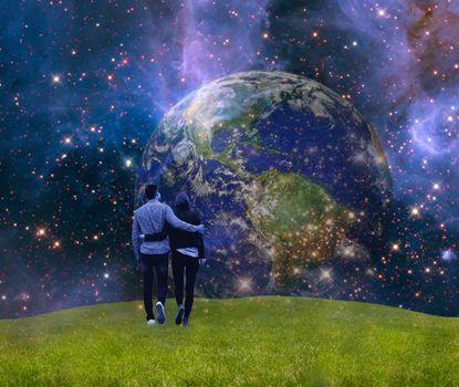 Photo free field, planet, glow
