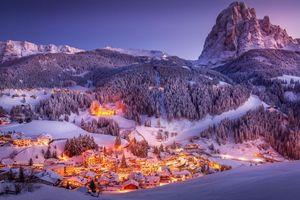 Фото бесплатно Italy, Dolomites, Landscape, Village, Sunset