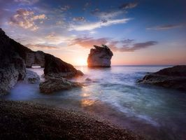 Photo free Sunrise from Faraglioni Bay, Apulia, Italy