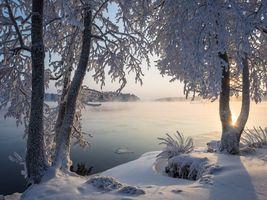 Фото бесплатно Финляндия, закат, озеро Сайма
