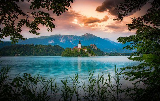 Фото бесплатно bled Island, Slovenia, закат
