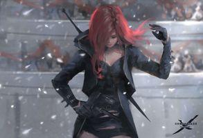Бесплатные фото цифровое искусство,произведения искусства,WLOP,женщины,длинные волосы,рыжая,Ghostblade