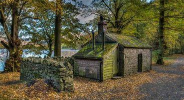 Бесплатные фото Холм Вуд Боти,Лоусуотер,осень,лес,деревья,озеро,дорога