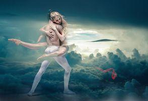 Бесплатные фото танцоры,сновидения,фантазия,облако,балет,балерина,небо