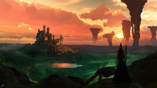 Фото бесплатно ведьма, закат, замок
