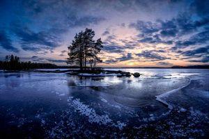 Бесплатные фото закат, озеро, лёд, деревья, Финляндия, пейзаж