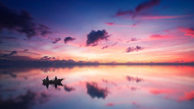 Фото бесплатно закат, лодка, рыбаки