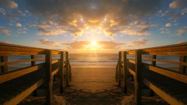Заставки закат солнца,воды,рассвет,мост,пирс,море,размышления,пляж,смеркаться,небо,панорама,берег