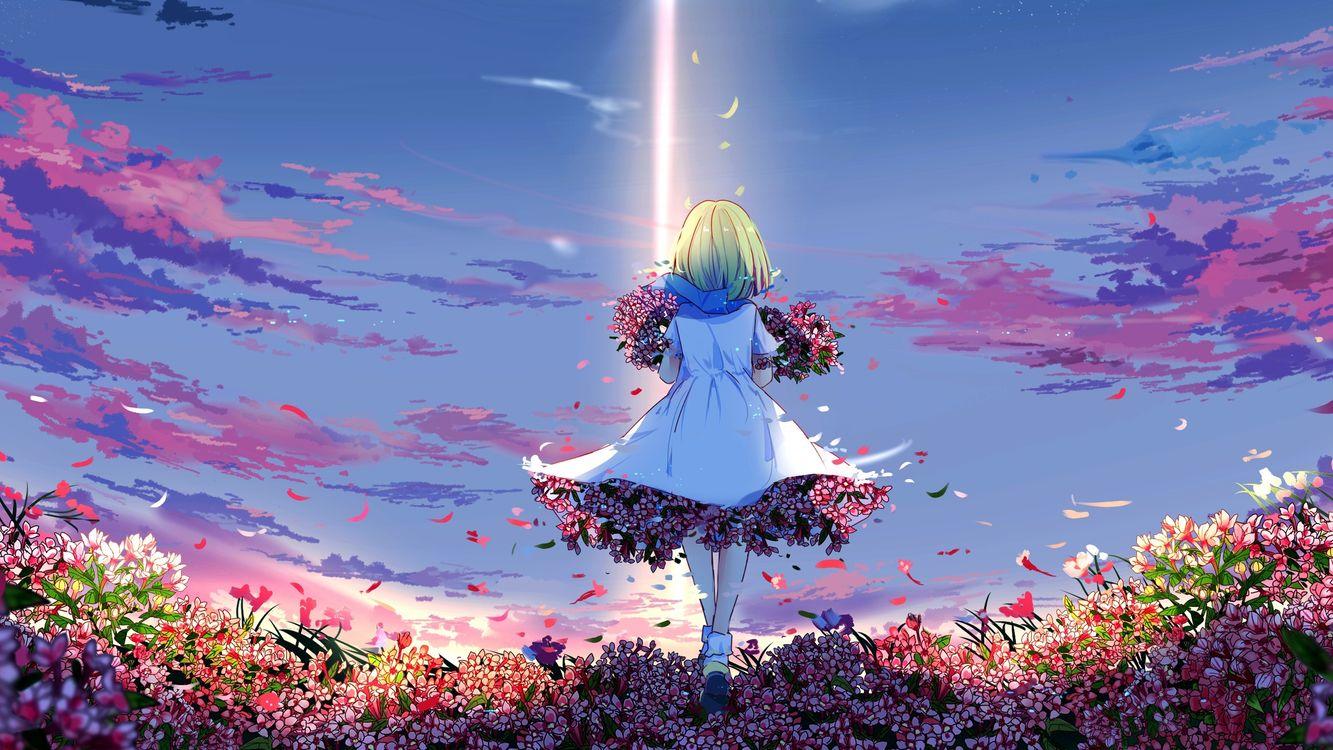 Обои девушка, аниме, весна картинки на телефон