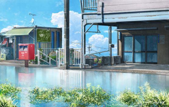 Фото бесплатно аниме пейзаж, улица, здания