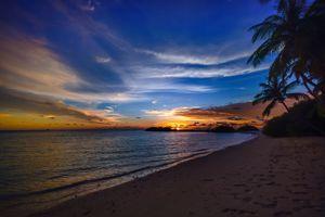 Бесплатные фото пляж,спокойные,облака,кокосовые пальмы,рассвет,сумерки,природа