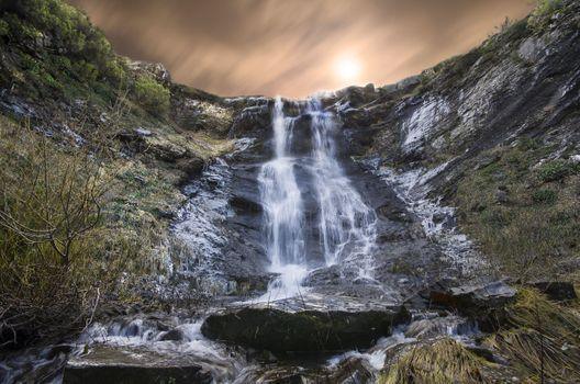 Фото бесплатно водопад, супер, закат