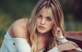 Фото бесплатно женщины, блондинка, лицо, портрет, глубина резкости, голубые глаза, women, blonde, face, portrait, depth of field, blue eyes