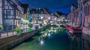 Photo free City of Colmar, France, night
