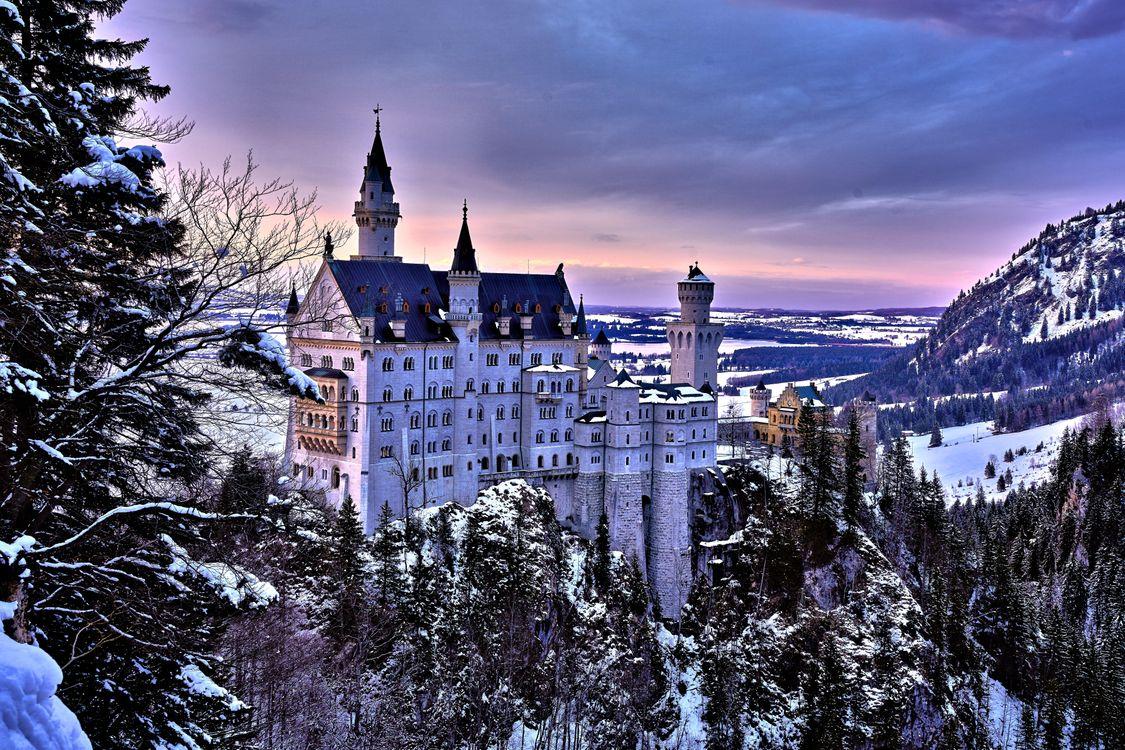 Фото бесплатно Замок Нойшванштайн, Германия, закат, пейзаж, пейзажи