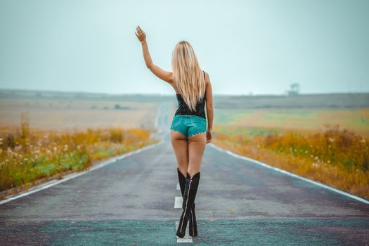Shapely blonde voice on the road