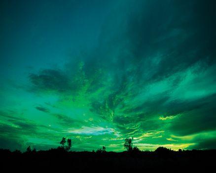Photo free landscape, sunset, green