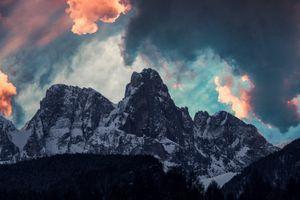 Заставки горы, облака, деревья, снег, mountains, clouds, trees