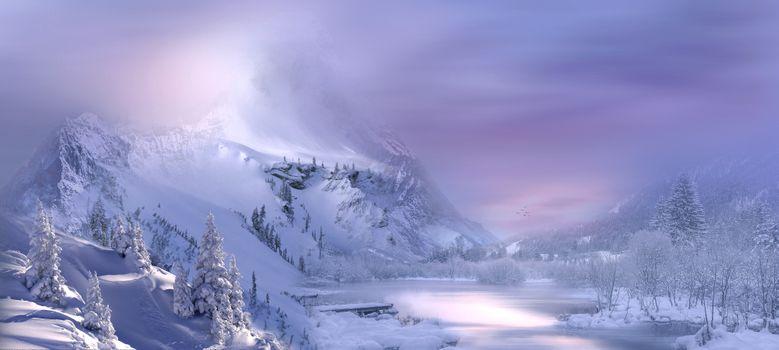 Photo free landscape, winter, snow