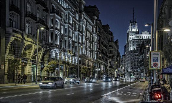 Фото бесплатно Night street, Madrid, Мадрид