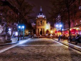 Бесплатные фото Сорбонна,Париж,Франция,город,ночь,иллюминация