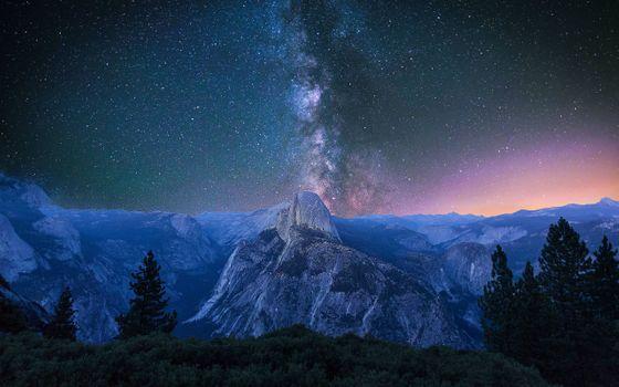 Photo free mountains, night, milky way