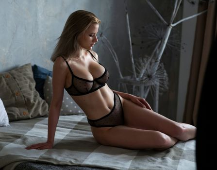 Photo free see-through lingerie, black lingerie, belly