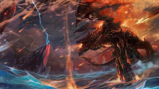 Заставки World Of Warcraft, дракон, молнии