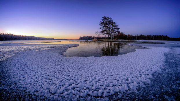 Фото бесплатно закат, озеро, лёд