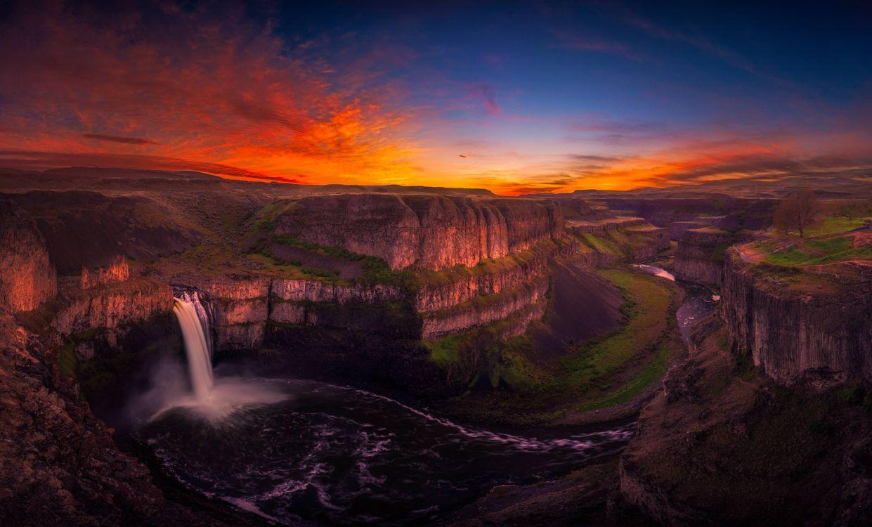 Фото бесплатно водопад, природа, закат - на рабочий стол