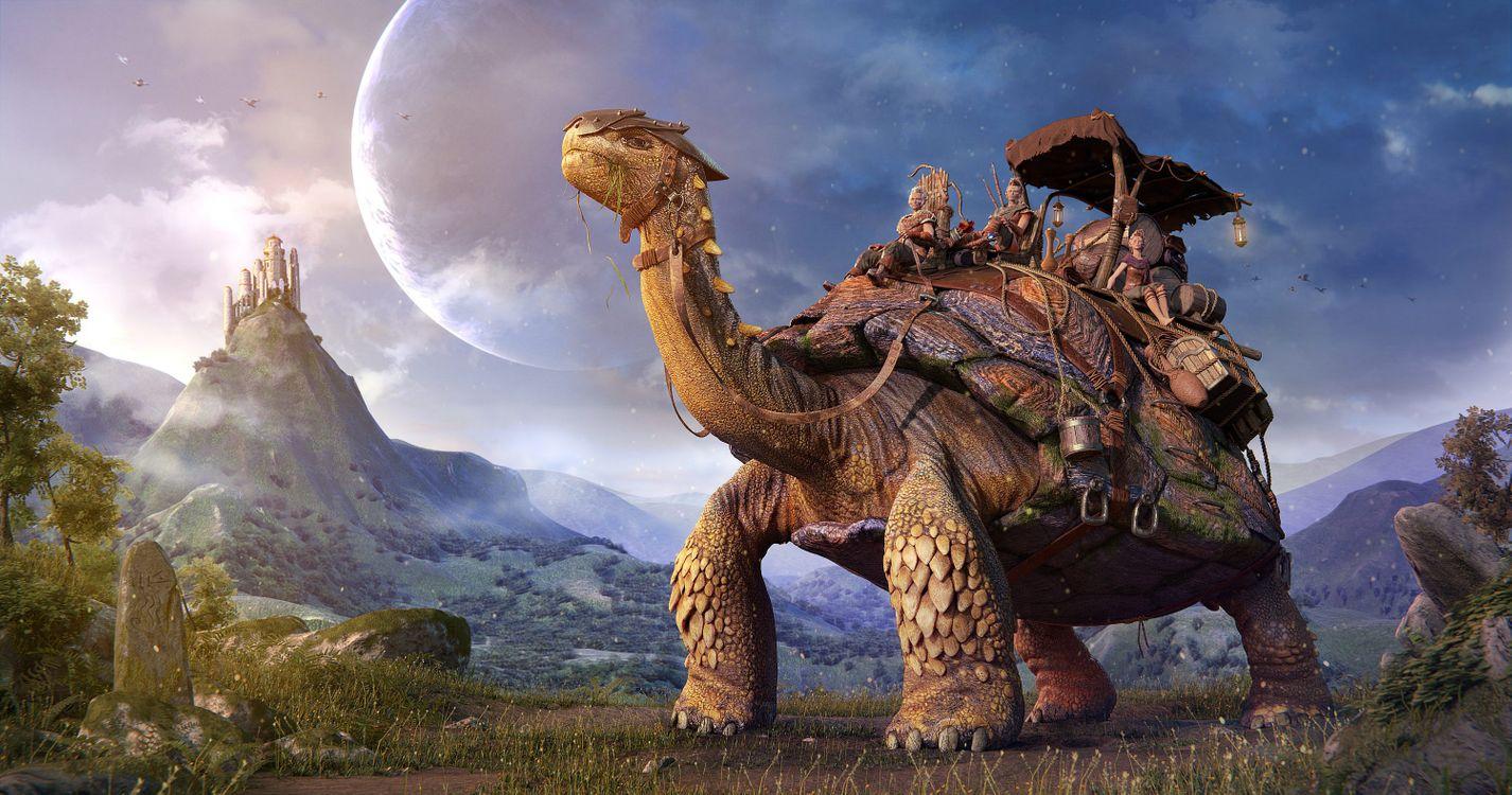 Фото бесплатно гигантская черепаха, фантастика, art - на рабочий стол