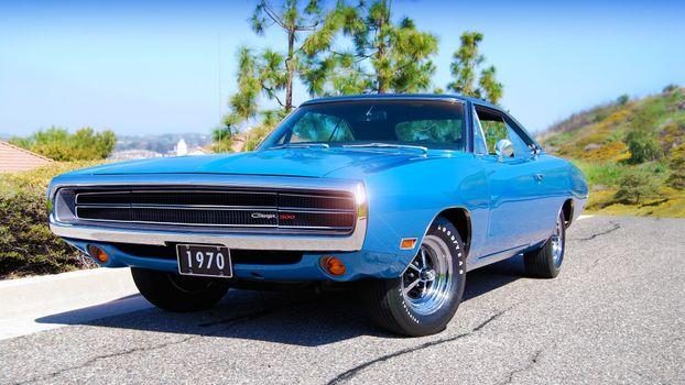 Фото бесплатно Dodge Charger, синий, передний план