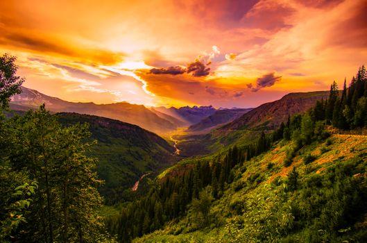 Фото бесплатно Монтана, закат, сумерки