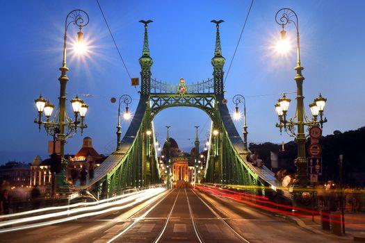 Photo free Liberty bridge, the Bridge over the Danube river, Budapest