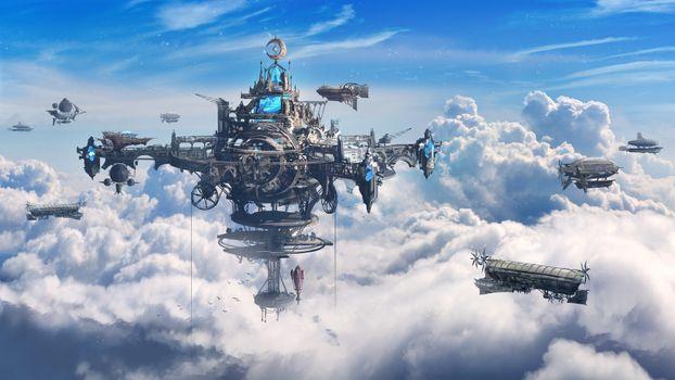 Фото бесплатно стимпанк, корабли, облака