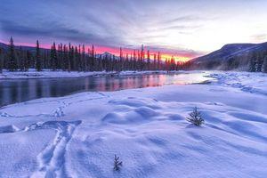 Бесплатные фото закат, зима, река, горы, деревья, пейзаж
