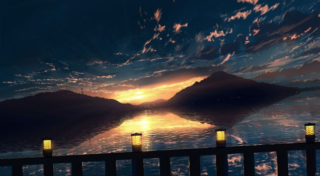 Photo free anime sunset, scenery, anime landscape