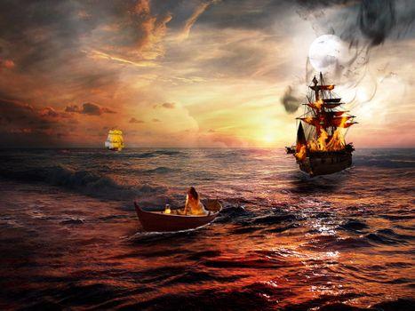 Фото бесплатно пираты, бедствие, сансет