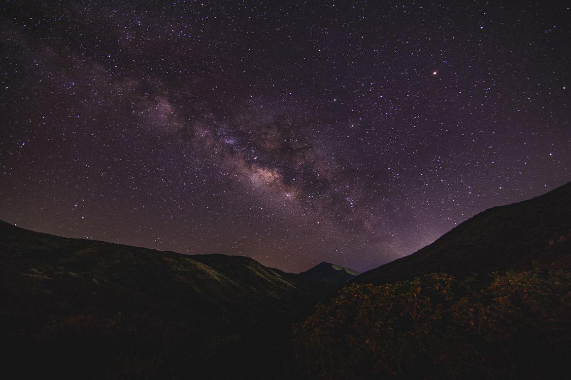 Фото бесплатно звездное небо, горы, ночь, молочный путь, starry sky, mountains, night, milky way, пейзажи