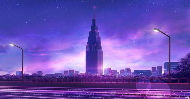 Фото бесплатно небоскреб аниме, фиолетовый тема, уличные фонари