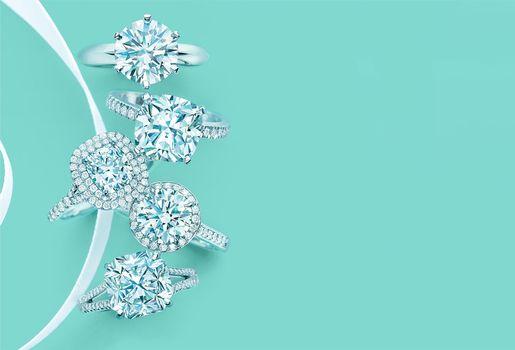 кольца, украшения, лента, стиль, бриллианты