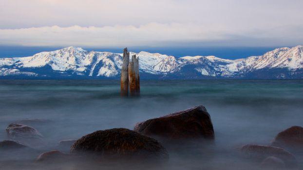 Заставки озеро тахо, туман, горы