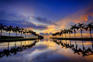 Фото бесплатно Miami, Майами, Флорида, закат, берег, вечернее небо, облака, сумерки, море, океан, небо, пальмы, отражение, пейзаж